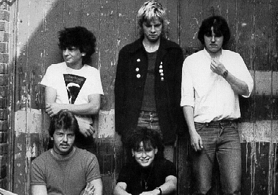 Five members of Metro Youth outside their rehearsal studio, Exeter, 1981