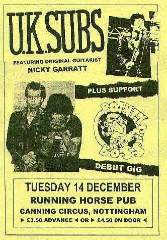 Poster for Nottingham Pointy Boss debut gig with UK Subs, 14 December 1999